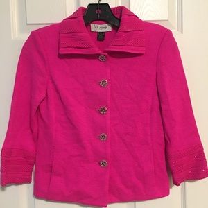 SOLD - St. John Knit Neon Pink Jacket Size 0